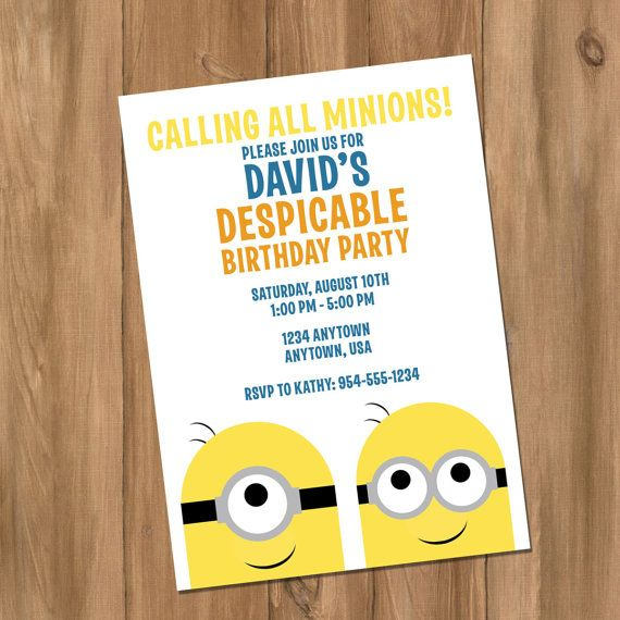 Despicable Me Minion Inspired Birthday Party Invitation Digital