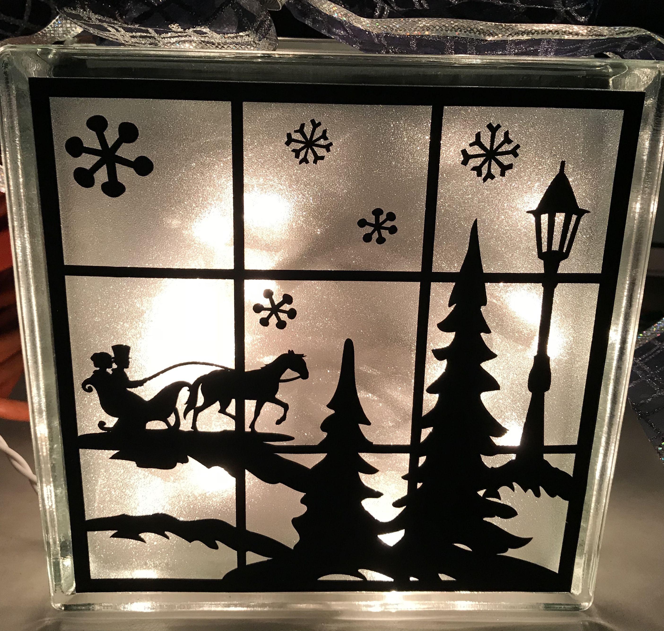 Christmas scene using Cricut machine, black vinyl, frosted ...