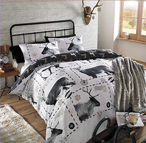 Dreamscene Christmas Duvet Cover Pillow Case Bedding Set Reindeer