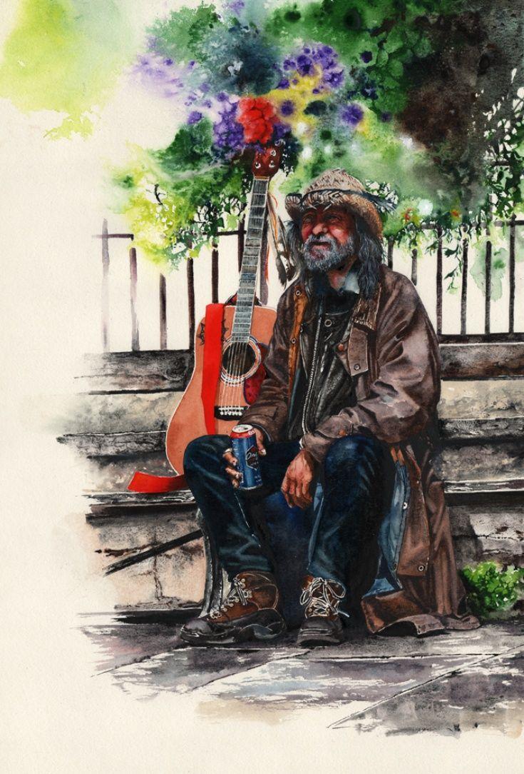 Artfinder glastonbury man by peter williams a street