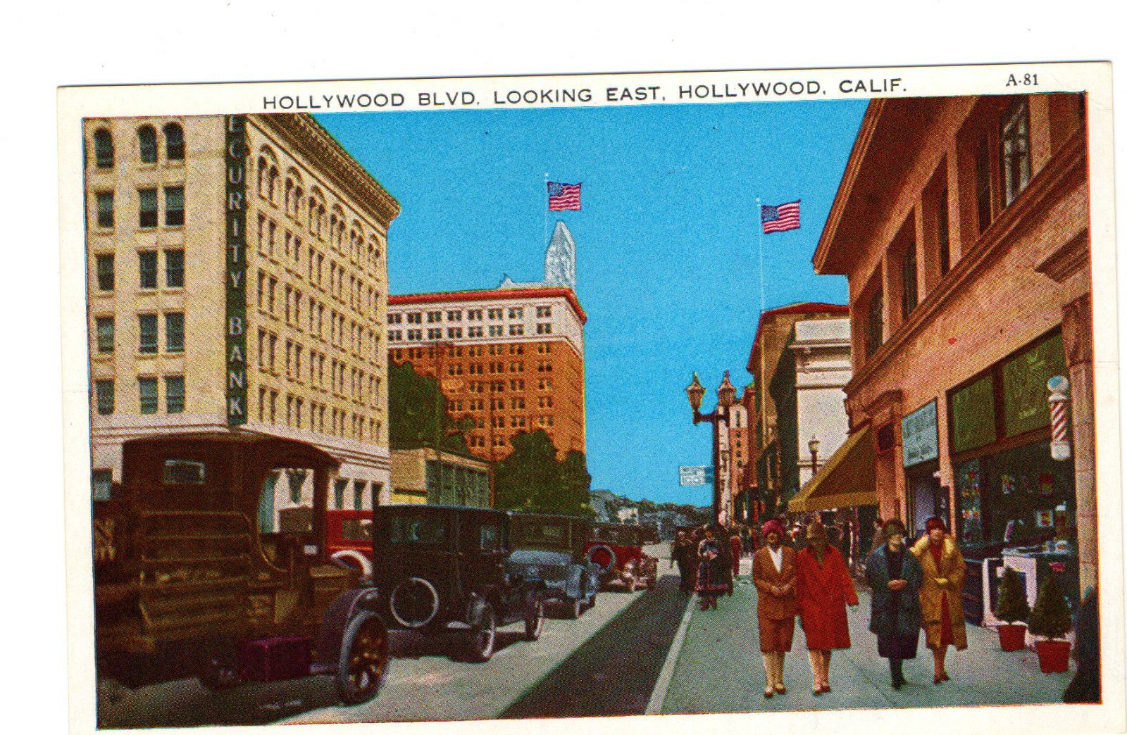 California 1920s postcard hollywood blvd looking east old