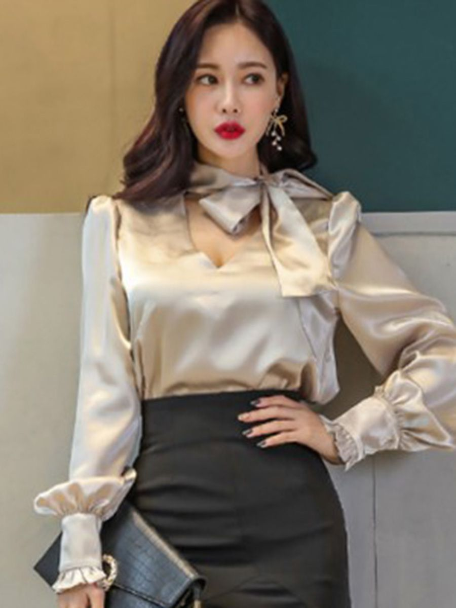 22fc6bfb4ed103 Bowknot Long Sleeve Loose Standard Women s Blouse