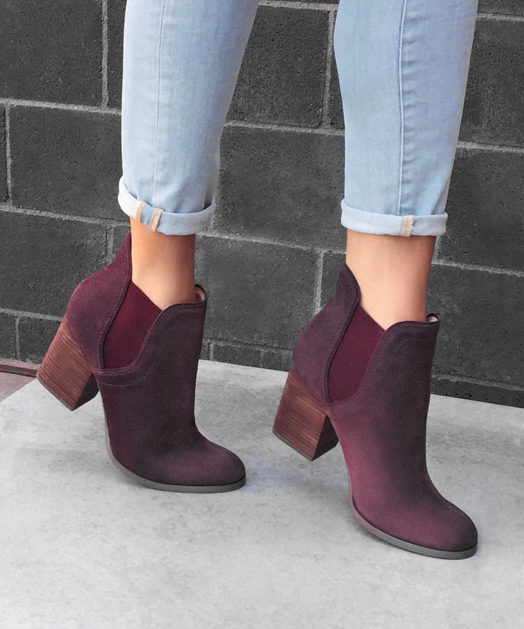 3295080b1cb Suede ankle booties in the perfect wine color for fall