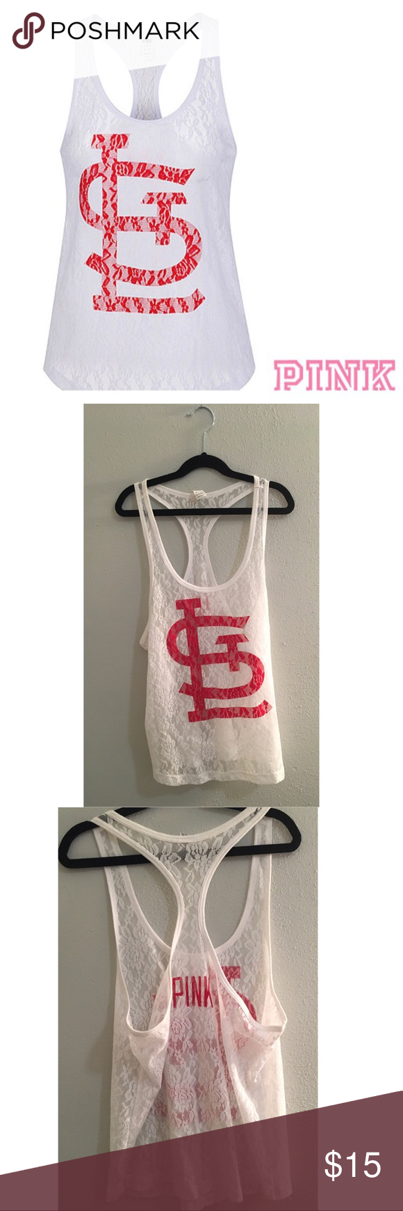 ⚾️MLB VS PINK Racerback⚾️ Super Cute, Lace, St. Louis Cardinals MLB Racerback Tank. Worn only a few times, in excellent condition! PINK Victoria's Secret Tops Tank Tops