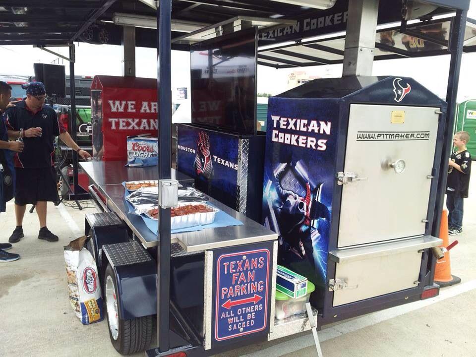 Texans tailgating with pitmaker bbq pit bbq brick flooring
