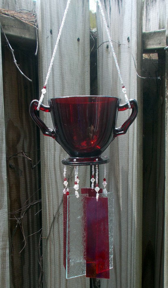 Ruby Sugar Bowl Upcycled into a  Windchime with Stained Glass Chimes