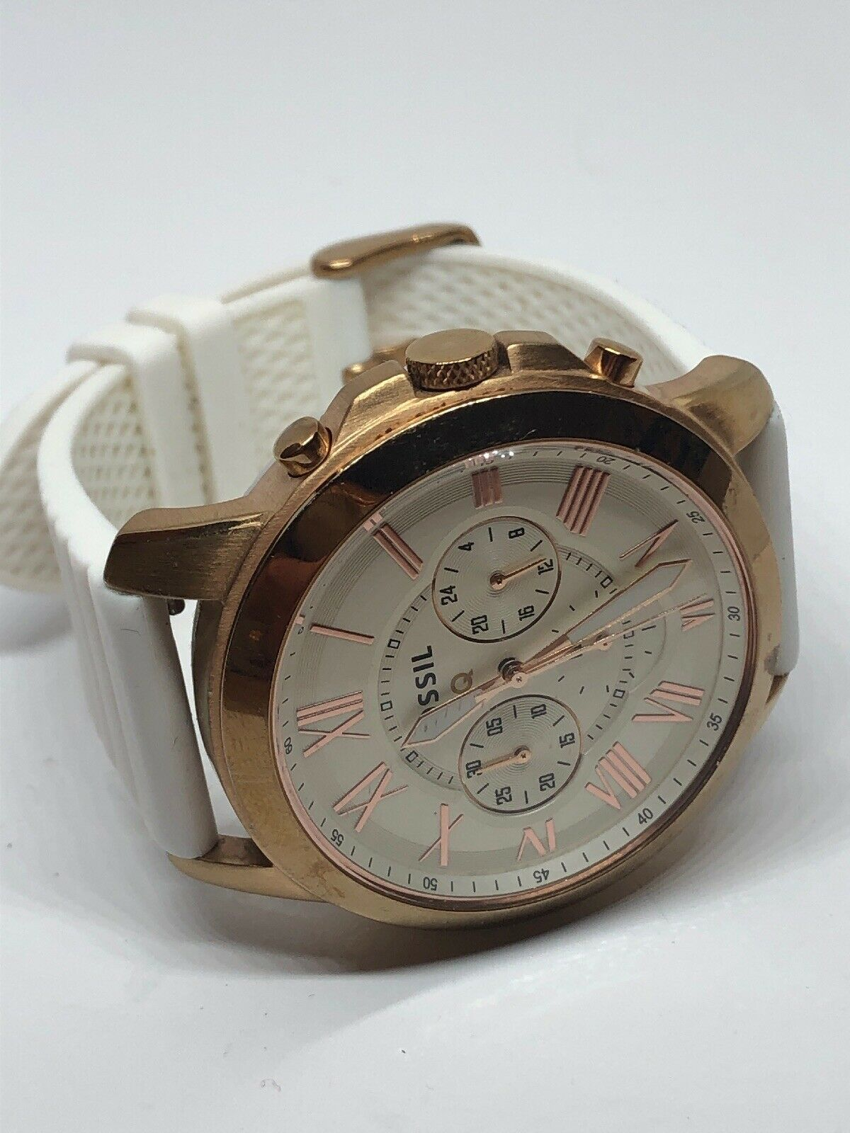 Low Price 29.99 Fossil Q 2AB8ZND4 Unisex White Silicone