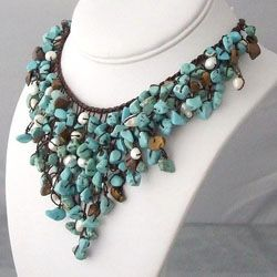 Handmade Modern Mix Stones V-Shape Waterfall Bib Necklace (Thailand) #odotco #overstock #worldstock