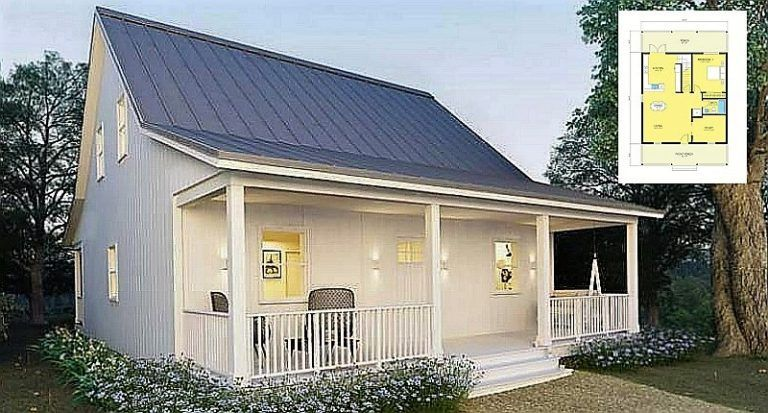A Small Metal House Cottage With An Open Front Porch With Plans Metal Homes Small House Cottage Homes