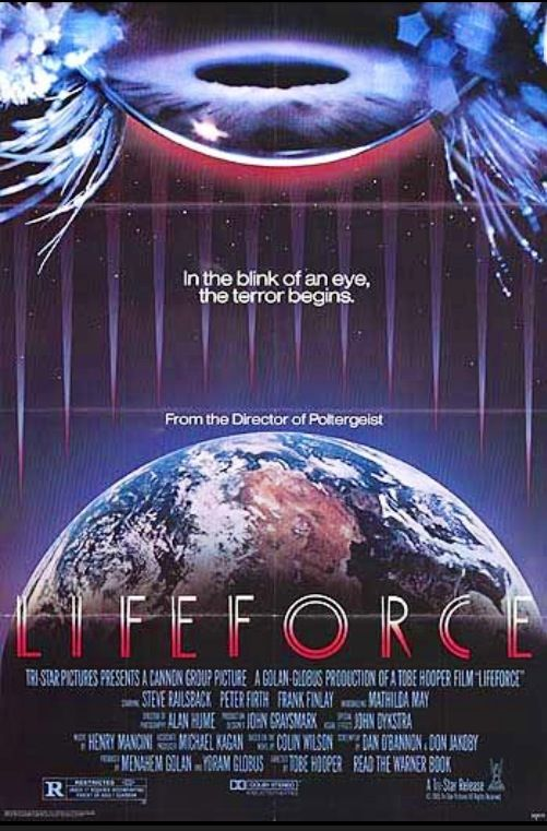 A space commander and scotland yard inspector search London for a naked space vampire not a bad sci fi movie from1985