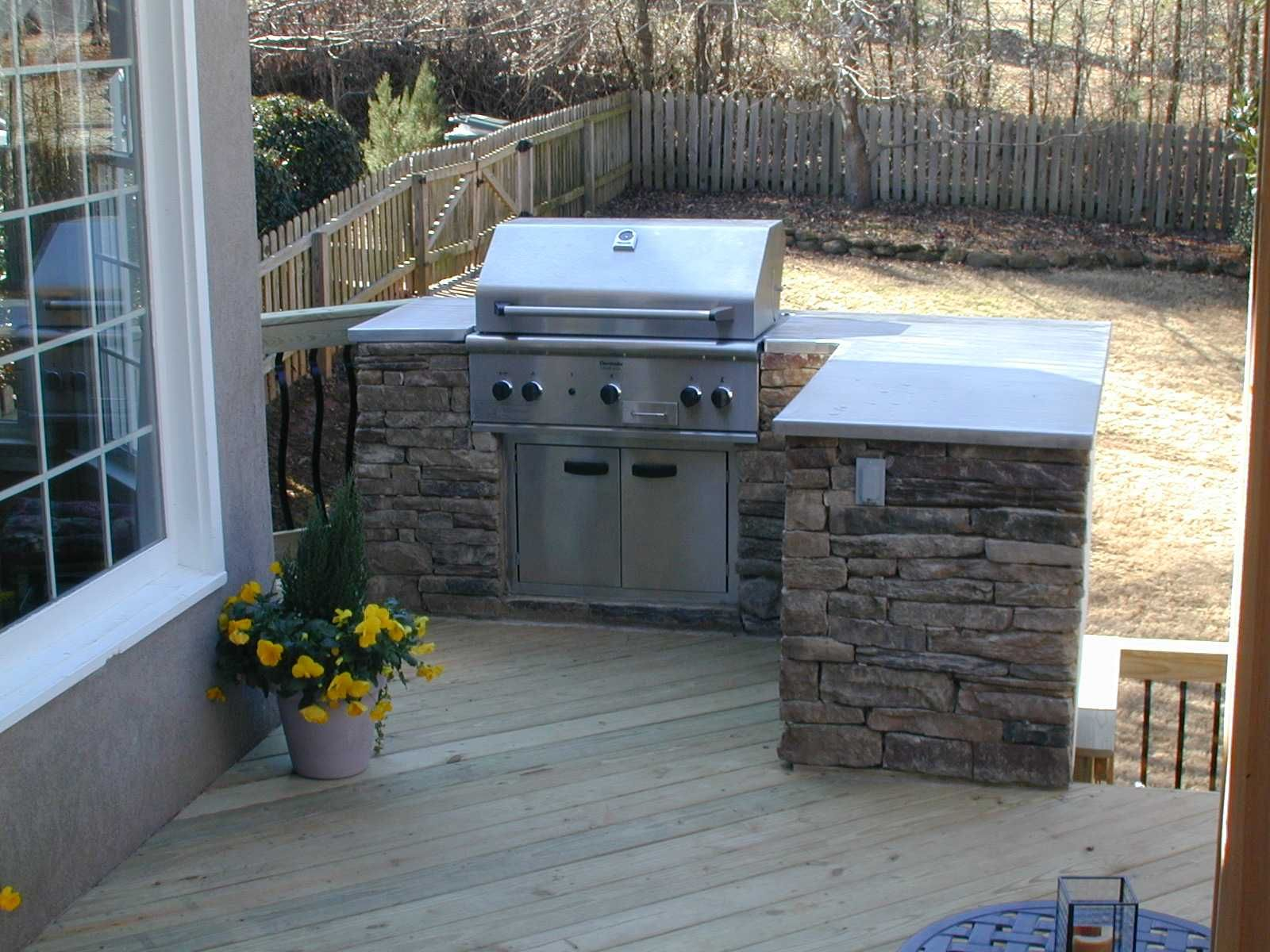 built in grill on wood deck deck and patio ideas