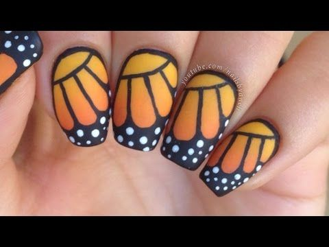 Love Butterflies If So You Have To Try This Monarch Butterfly Nail Art Tutorial One Of My Top 10 Favorite Nai Butterfly Nail Nail Art Diy Polka Dot Nail Art