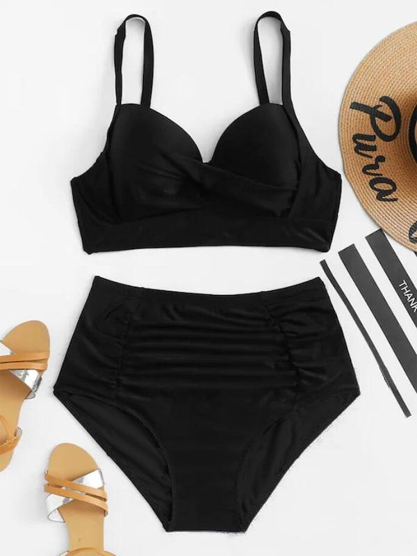 59b7bb0a535 Plus Bustier Top With Ruched Bikini Set -SHEIN(SHEINSIDE)