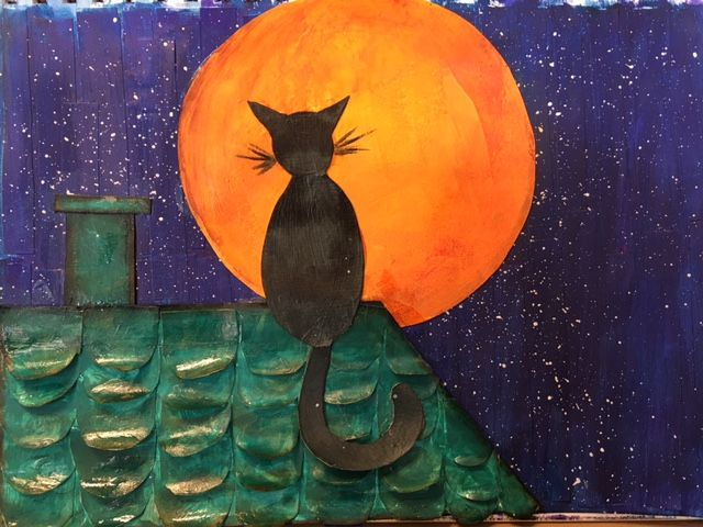 My cat Lotus on the roof every full moon. XOXOXO By Heather Renee