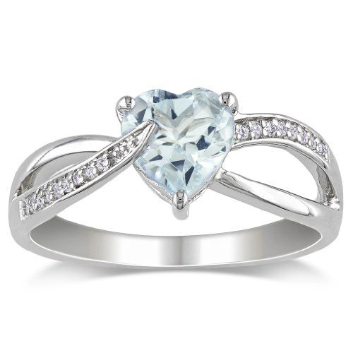 fdb0d310ff3 Sterling Silver Aquamarine and Diamond Ring (0.05 cttw, G-H Color ...
