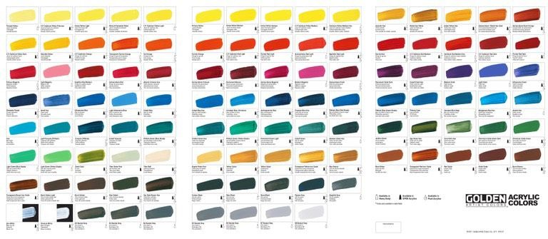 golden acrylics color mixing chart: Golden heavy body acrylic colour chart painting pinterest
