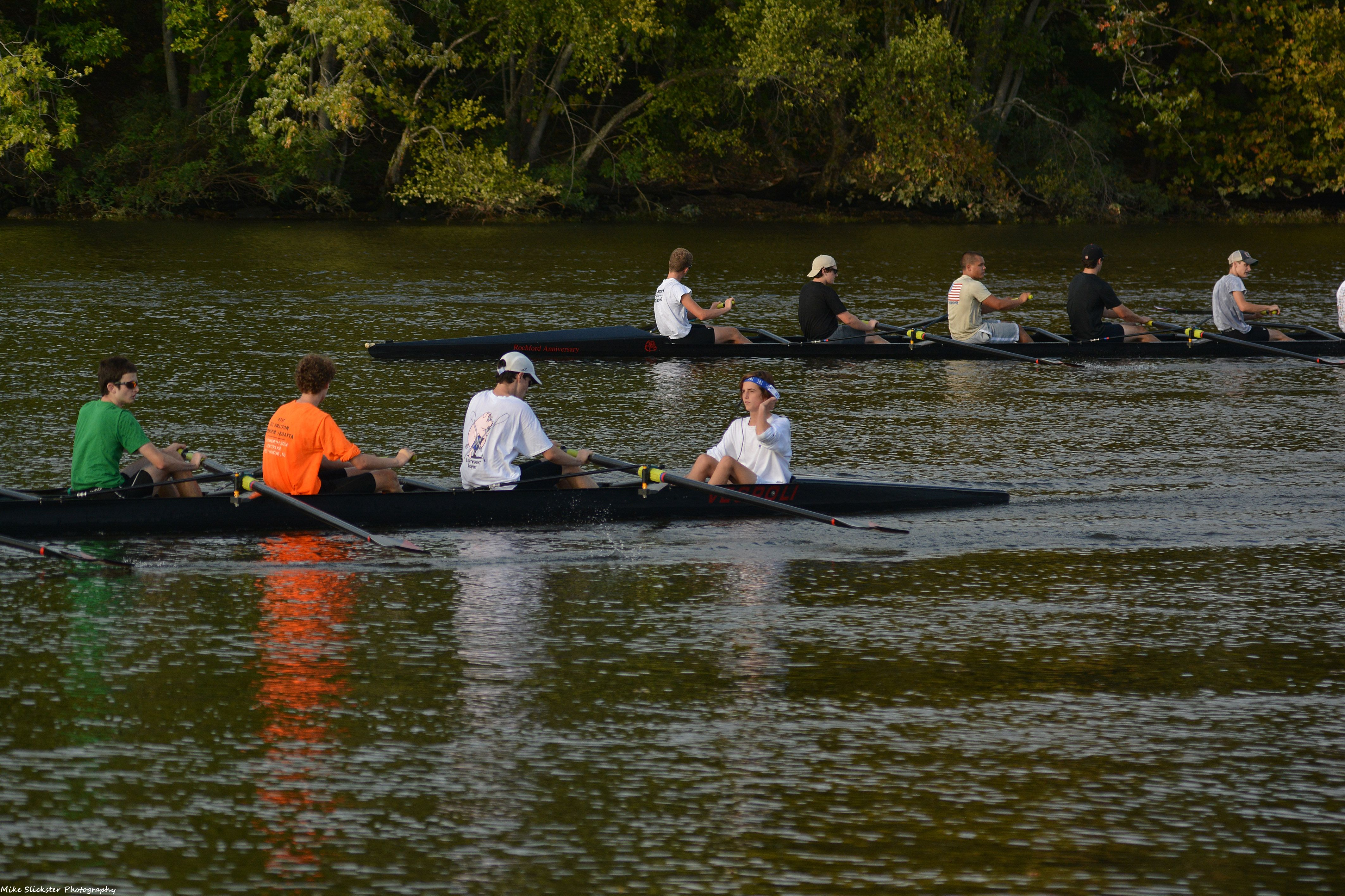 Rowers on the southern fork of the Delaware River at Burlington Island.