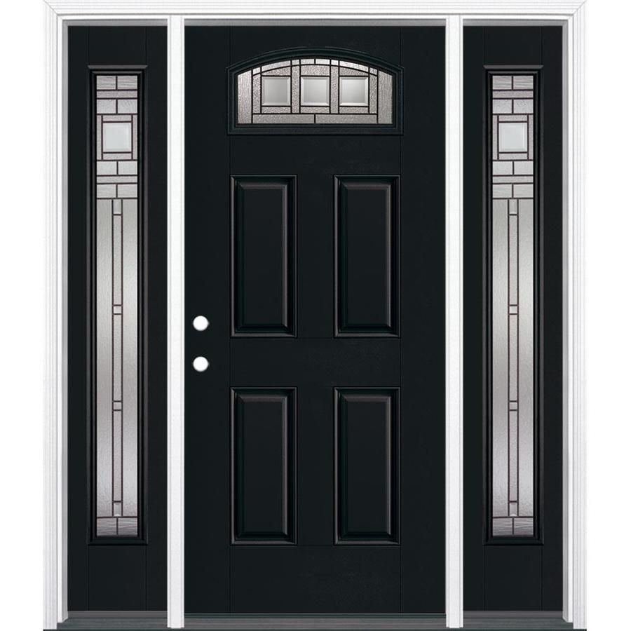 Masonite Craftsman 1 4 Lite Decorative Glass Right Hand Inswing Peppercorn Painted Fiberglass Prehung Entry Entry Doors Entry Door With Sidelights Glass Decor