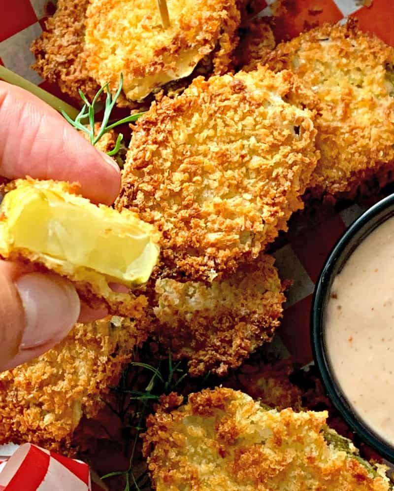 Air Fryer Fried Pickles how to make fried pickles in an