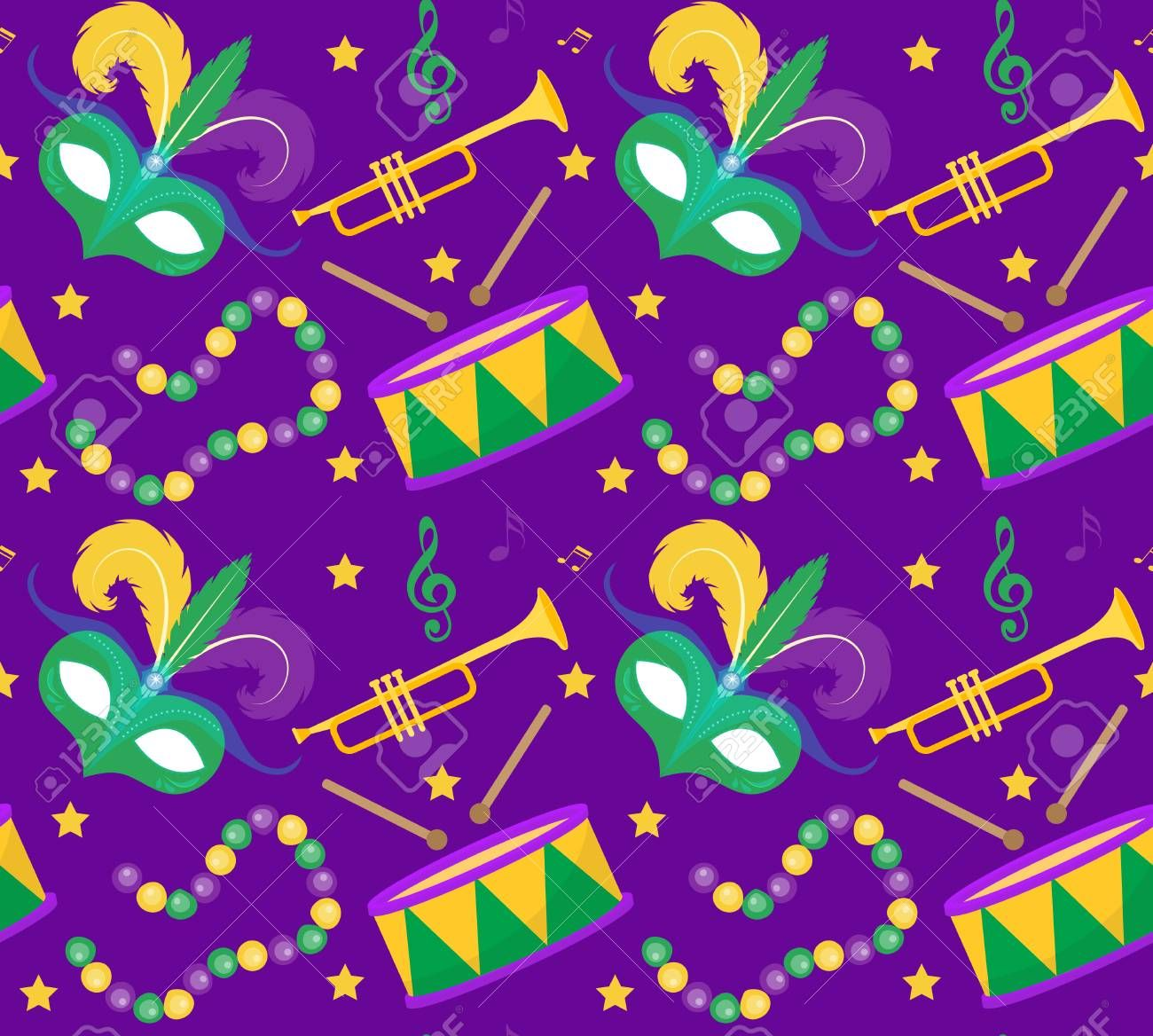 Mardi Gras Carnival Seamless Pattern With Mask Feathers Beads