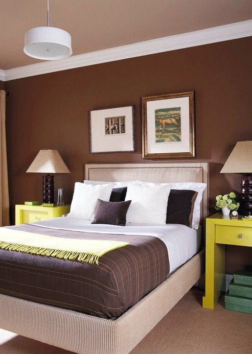 camera da letto marrone e giallo camera pinterest maison chambre et deco. Black Bedroom Furniture Sets. Home Design Ideas