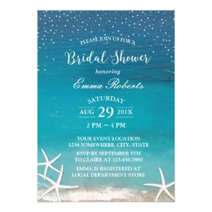 invitations wedding bridalshower beach wedding elegant starfish bridal shower card