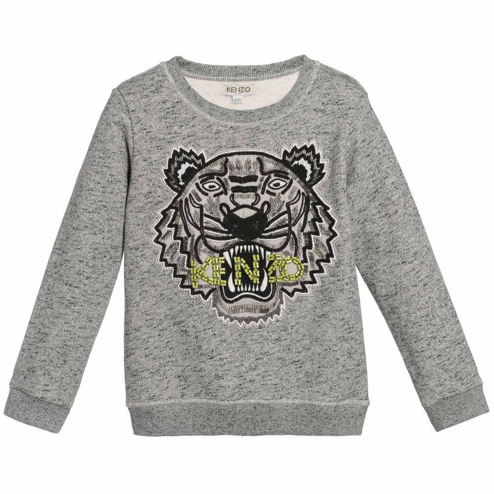 f421e3d03 Girls Grey Sequin Tiger Sweatshirt, Kenzo, Girl 122.46 euros | Kenzo ...