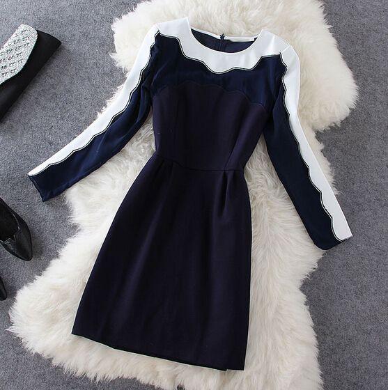 Fashion round neck long-sleeved dress #100413HJ
