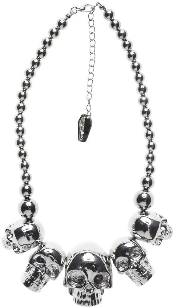 New Kreepsville 666 Skull Collection Necklace Silver