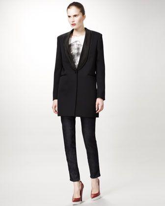 Lion Tee, Tuxedo Jacket & Jeans With Faux Leather Tuxedo Stripe by Stella McCartney at Bergdorf Goodman.