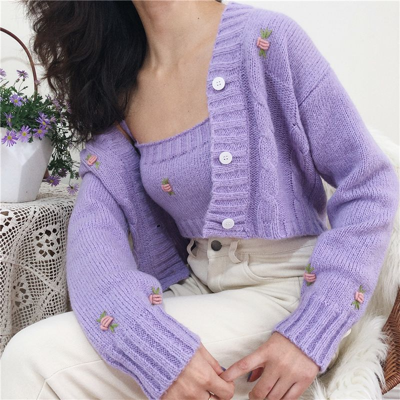 Three-dimensional crochet sweater 2 piece set Small sling + knit cardigan from FE CLOTHING