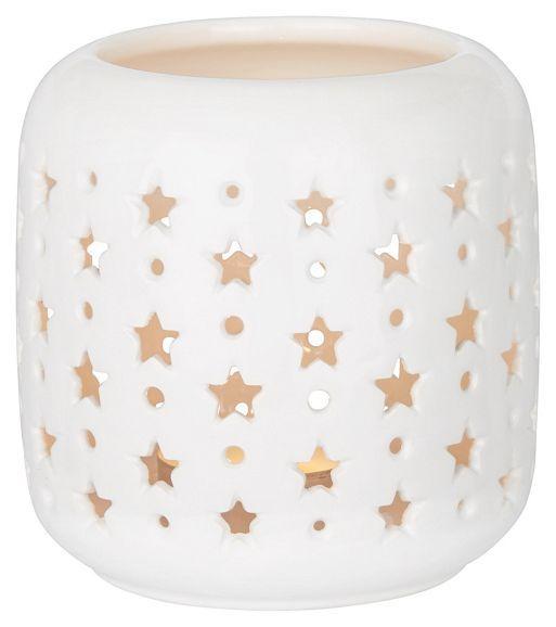 Windlicht in Weiß aus Keramik.