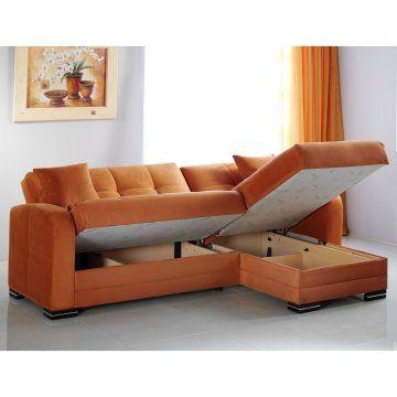 Istikbal Kubo Rainbow Orange Microfiber Sectional Sofa Sofas At Hayneedle Small Sectional Sofa Sofas For Small Spaces Sofa Design