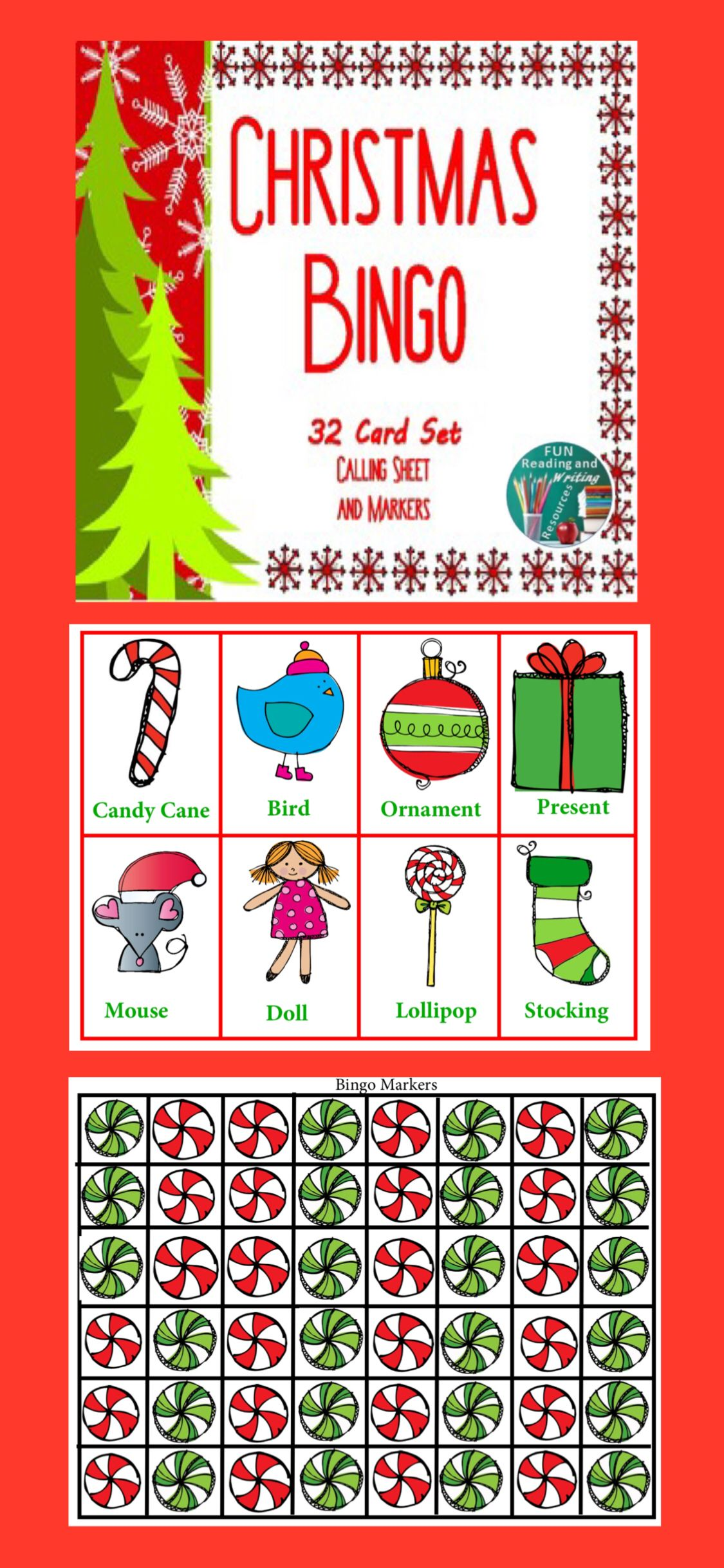Christmas Bingo 32 Cards With Call Sheet And Markers