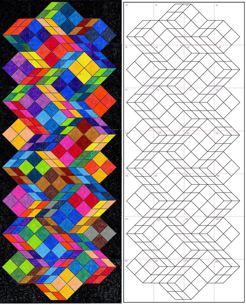 Pin Van Ms Art Op Art Optische Illusie Tekening Kunstlessen Mandala Kleurplaten