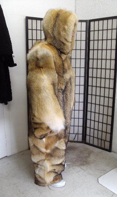 Brand new double sided coyote fur snowsuit jumpsuit bodysuit coat w  hood  for men man size all cust 28153e338