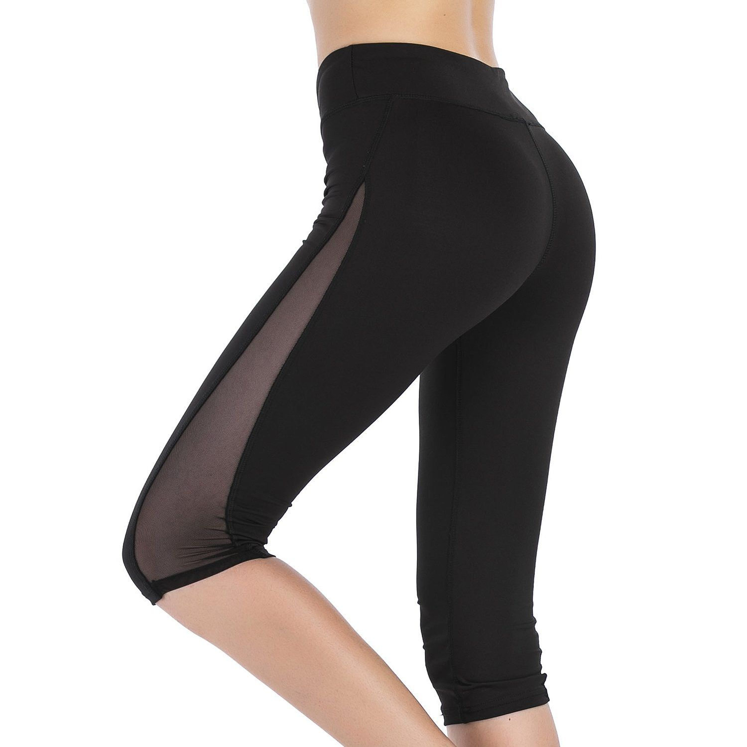 dee8c91c72825 Imido Women's Mesh Yoga Capri Pants Workout Running Crop Leggings With  Inner Pocket (M). Marerial: 88% Polyester, 12% Spandex. High Quality  Breathable Mesh ...