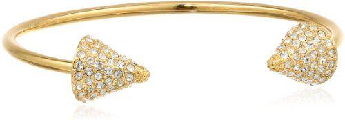 "Amazon.com: CC Skye Gold Plated Double Header Pave Spike Bangle Bracelet, 7"": Jewelry"