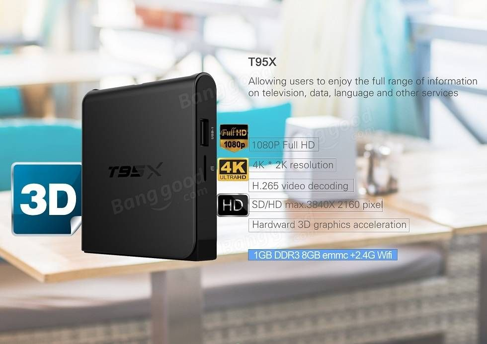 T95X Amlogic S905X 1G DDR3 RAM 8G eMMC ROM Android 6.0 KODI 16.1 4K Support AV Dolby 3G HDR VP9 H.265 HEVC TV Box Android Mini PC Sale - Banggood.com