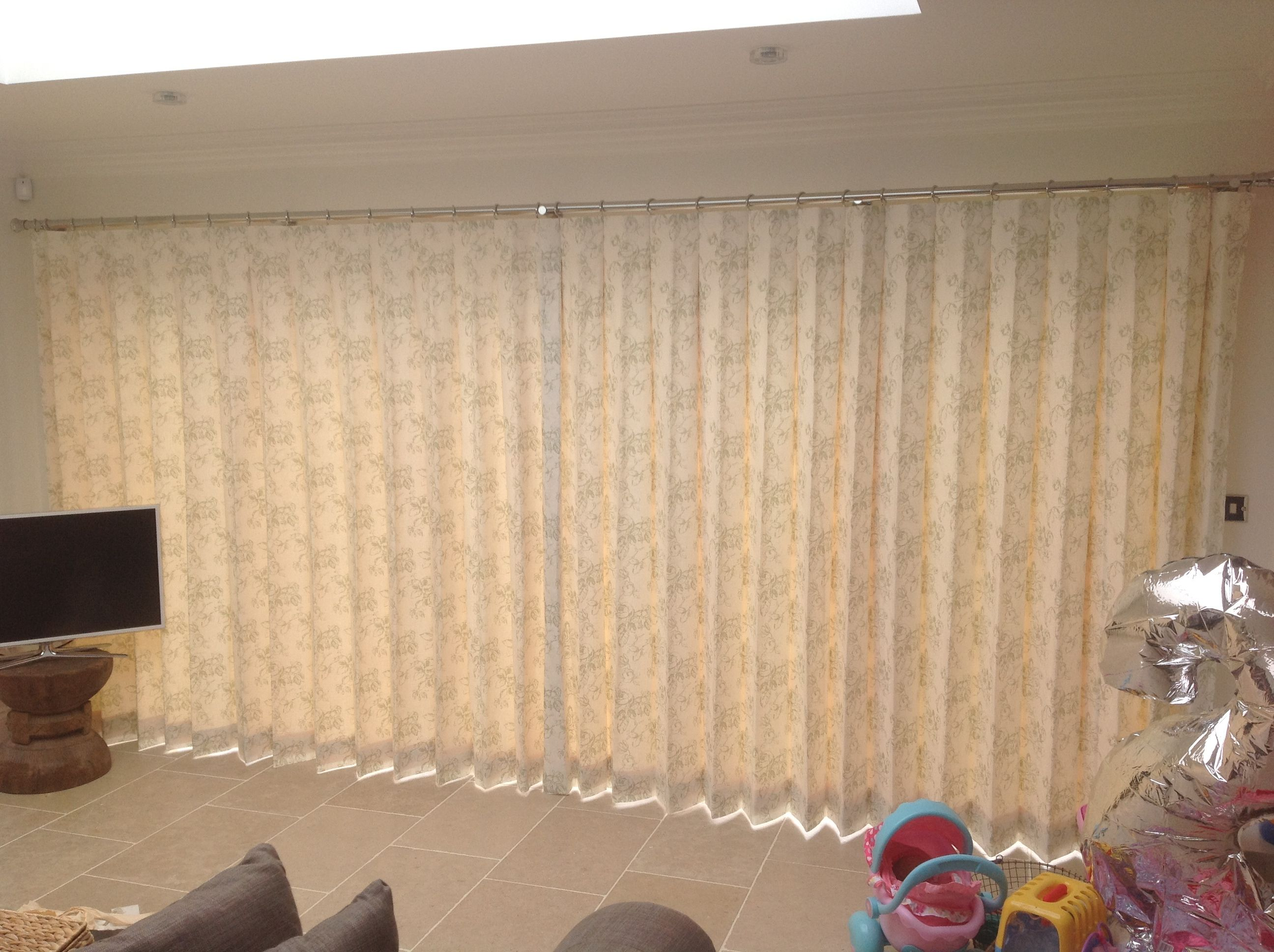 4.5 Metre Bi Fold Doors With Inverted Pleat Curtains In Clarke U0026 Clarke  Clarisse Fabric