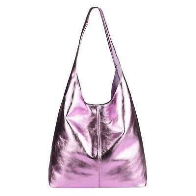 Photo of Italian Women's Leather Bag Metallic XXL SHOPPER Shoulder Hobo Pouch for sale online | eBay