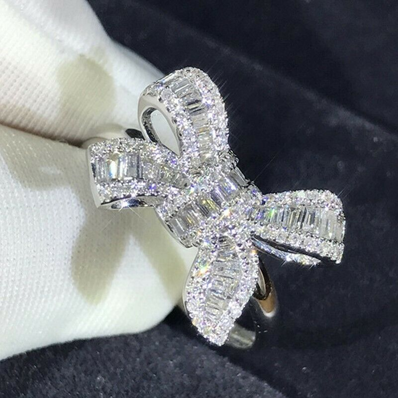 Fashion 925 Silver Rings for Women White Sapphire Wedding Jewelry Gift Size 6-10