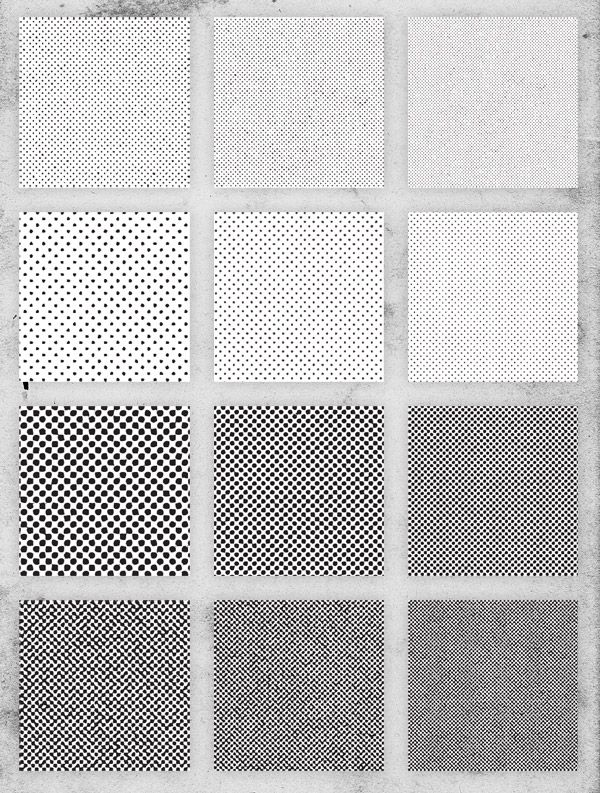 Free Pack of 12 Distressed Halftone Pattern Textures | Photoshop and