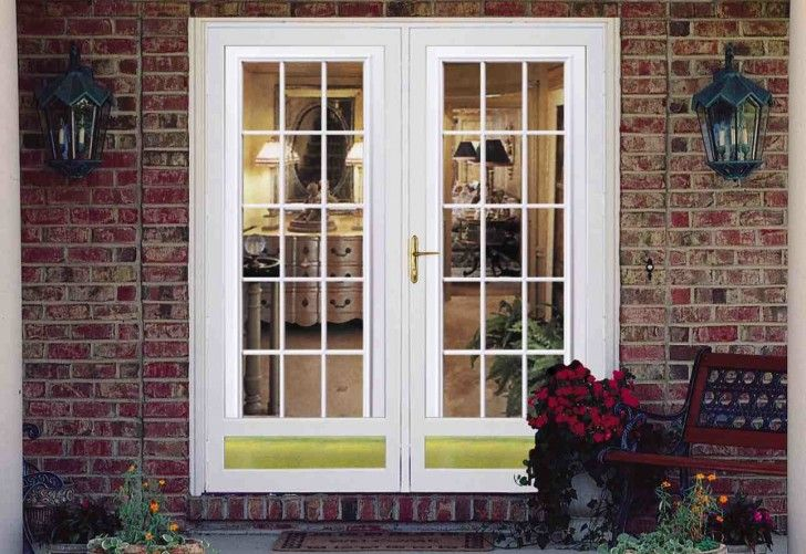 Captivating Double White Fiberglass French Door Design With Glass Panel And Gold Handle Door O Fiberglass French Doors Fiberglass Patio Doors Glass Storm Doors