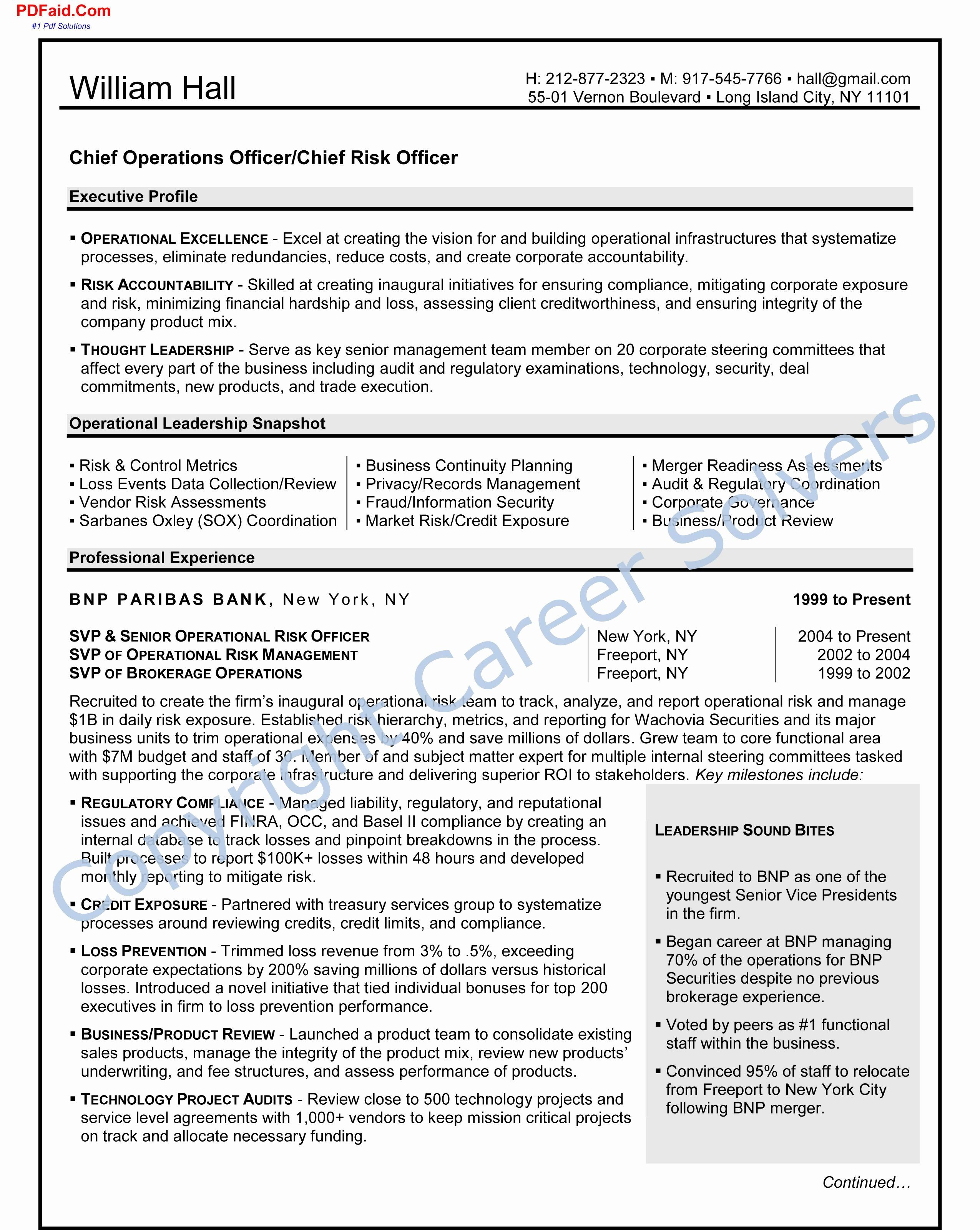 Executive resume cover letter best of operations executive