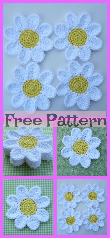 Crochet Flower Coasters - Free Patterns #crochetflowers
