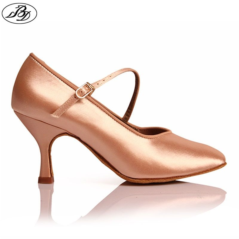 Womens Sequined Leather Pointed Toe Closed Kitten Heel Indoor Latin Ballroom Dance Shoes Mary Jane BaojunHT/®