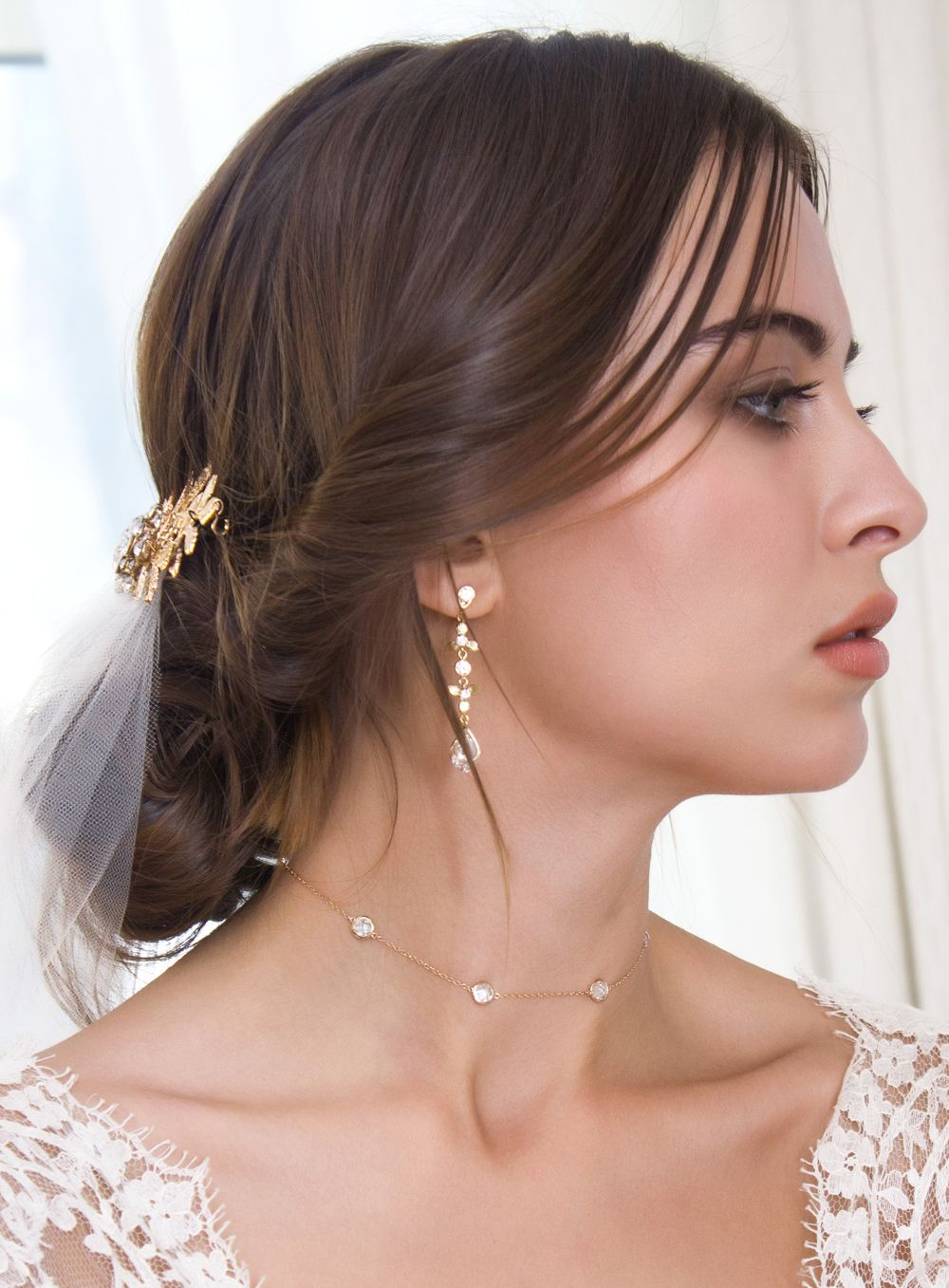 Wedding dress jewelry  Sienna Crystal Choker in Gold  Choker Delicate and Bridal jewelry
