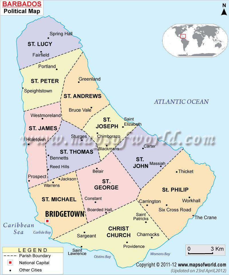 Barbados Map Vacay Pinterest Barbados Caribbean And - Southern caribbean map