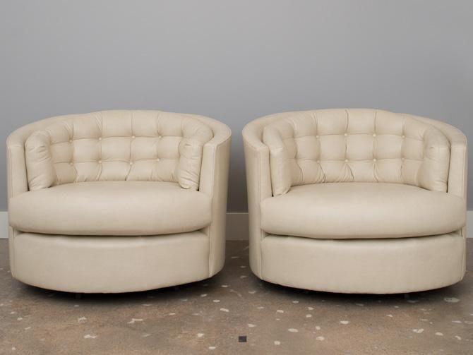 Milo Baughman Swivel Bucket Chairs